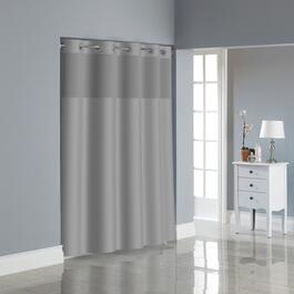 "71""W x 74""L Drizzle Grey Polyester Hookless Shower Curtain, with Peva Liner thumb"