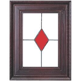 Wired Mahogany Door Chime with Stained Glass Design thumb