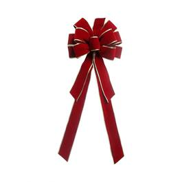 "11"" x 29"" Classic Red and Gold Velvet Bow thumb"