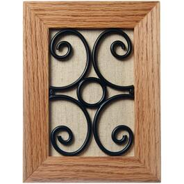 Wired Wooden Light Oak Doorbell Chime with Metal Art Design thumb