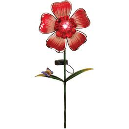 Glass Flower Solar Garden Stake, Assorted Colours thumb