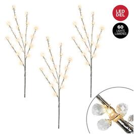 "3 Pack 30"" Twig Pathway Markers, with Clear Beads and Warm White LED Lights thumb"