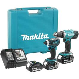 2 Tools 18 Volt Lithium-ion Cordless Combo Kit, with Bonus Battery thumb