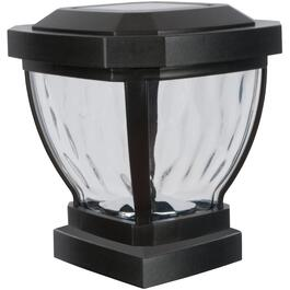 "4"" x 4"" Black Solar Fence Post Cap, with Water Glass Lens thumb"