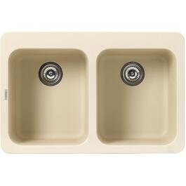 "20 3/4"" x 31 3/8"" x 9"" Double Granitek Biscuit Kitchen Sink thumb"