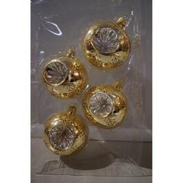 4 Pack 67mm Glass Gold Reflector Ornaments thumb