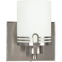 Aurora 1 Light Brushed Nickel Wall Light with White Glass thumb
