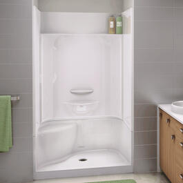 "Essence White 48"" 4 Piece Shower with Left Hand Seat Less Cap thumb"