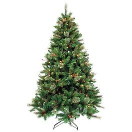 6.5' Lodge Cone and Berry Christmas Tree, with 300 Clear Lights thumb
