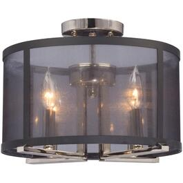 Hudson Black and Nickel Semi Flush Fixture with Mesh Shade thumb