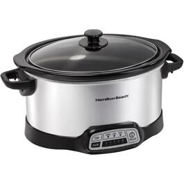 6.0 Quart Oval Stainless Steel Programmable Slow Cooker thumb