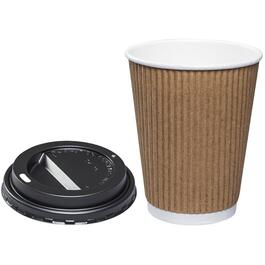 8 Pack 12oz Hot Beverage Paper Cups, with Lids thumb