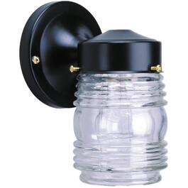 "7"" Black Outdoor Jamjar Light Fixture with Clear Glass thumb"