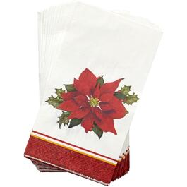 16 Pack Holly Poinsettia Paper Napkins thumb