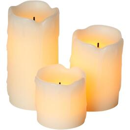 3 Pack Rustic Cream Battery-Operated LED Flameless Pillar Candles thumb