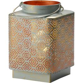 "7"" White Metal Starry Night Battery Operated Lantern, thumb"