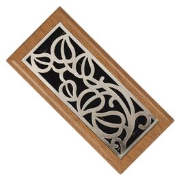 "4"" x 10"" Oak/Satin Nickel ABS Floor Diffuser thumb"