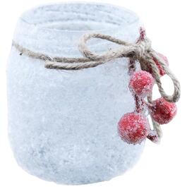 "6"" Christmas Frosted Glass Jar, with Berries thumb"