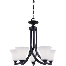 Rue 5 Light Rubbed Antique Bronze Chandelier Light Fixture with Flat Opal Glass thumb