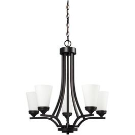 Renaissance 5 Light Oil Rubbed Bronze Chandelier Light Fixture with White Glass thumb