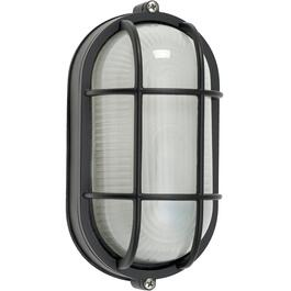"8.5"" Black Oval Outdoor Wall Light Fixture with Frosted Glass thumb"