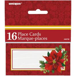 16 Pack Poinsettia Place Cards thumb