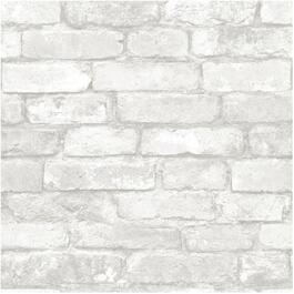 "20.5"" x 18' Grey and White Brick Peel and Stick Wallpaper thumb"