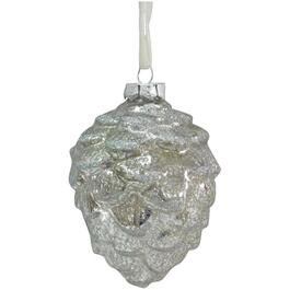 "3.25"" Glass Silver Pinecone Ornament thumb"