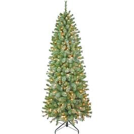 6.5' Flocked Glitter Christmas Tree, with 250 Clear Lights thumb