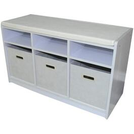 White 3 Cube Storage Bench thumb