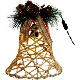 Battery Operated Rattan Bell Ornament, with Lights thumb