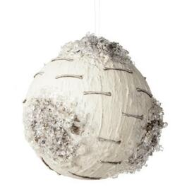 100mm Foam White Round Birch with Ice Ornament thumb