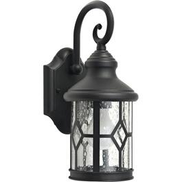 "14"" Black Cast Aluminum Outdoor Downward Coach Light with Clear Seeded Glass thumb"