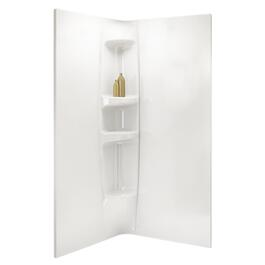 2 Piece White Acrylic Shower Walls for Pentangle and Round Olympia Shower Door and Base thumb