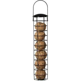 "14.6"" Black Metal Tube Suet Ball Bird Feeder, holds 6 Balls thumb"
