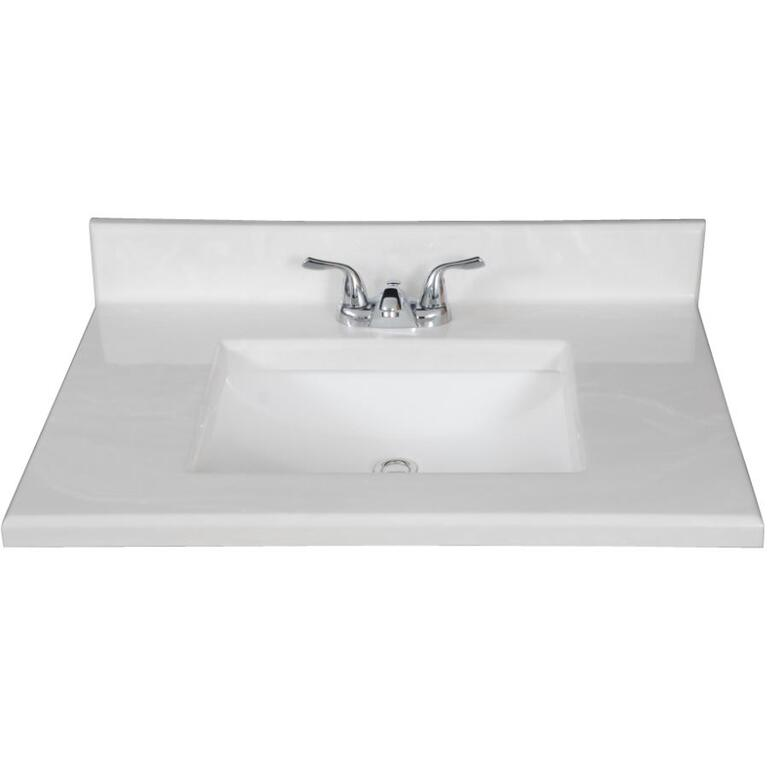 Matrix Designs 31 X 19 White Two Tone Cultured Marble Vanity Top