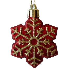 "2.5"" Plastic Red Snowflake Ornament thumb"