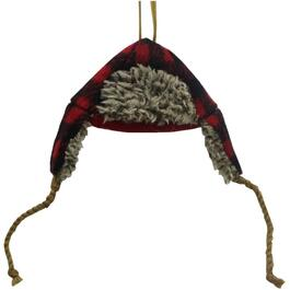"6"" Black and Red Plaid Winter Cap Ornament thumb"