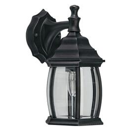 "12.5"" Black Outdoor Downward Coach Light Fixture with Clear Bevelled Glass thumb"