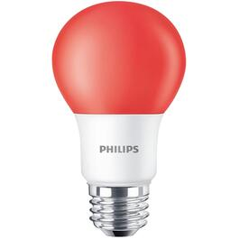 8W A19 Medium Base Non-Dimmable Red LED Light Bulb thumb