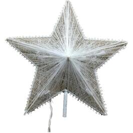 "11.5"" White Thread Star Tree Topper, with Lights thumb"