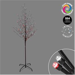 6' Indoor/Outdoor Twig Tree, with 204 Red and White Colour Changing Twinkle LED Lights thumb