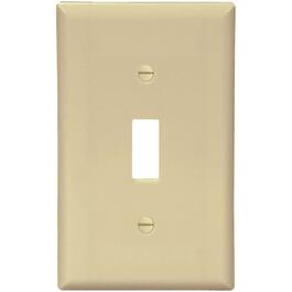 Ivory Plastic 1 Toggle Switch Plate thumb