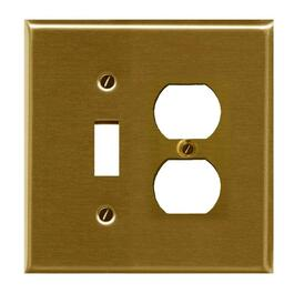 Brass Duplex 1Toggle Switch Receptacle Plate thumb