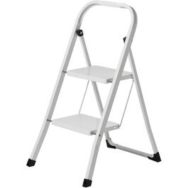 White 2 Step Steel Step Ladder thumb