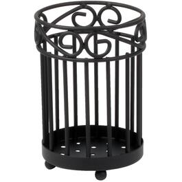 Scroll Black Round Utensil Holder thumb