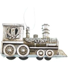 "4.5"" Plastic Silver Locomotive Christmas Ornament thumb"