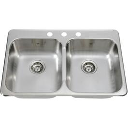"31-1/4"" x 20-1/2"" x 7"" Double Stainless Steel 3 Hole Kitchen Sink thumb"