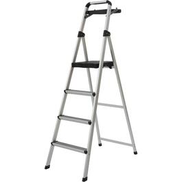 4 Step Aluminum Step Ladder, with Plastic Tray thumb