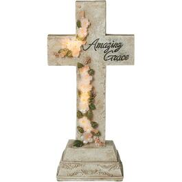 Solar Amazing Grace Cross Garden Statue thumb